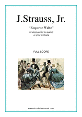 Cover icon of Emperor Waltz (COMPLETE) sheet music for string quintet (quartet) or string orchestra by Johann Strauss, Jr., classical score, intermediate skill level