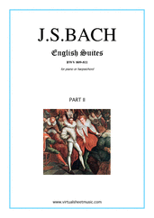 Cover icon of English Suites, part II sheet music for piano solo (or harpsichord) by Johann Sebastian Bach, classical score, intermediate piano (or harpsichord)