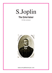 Cover icon of The Entertainer sheet music for flute and piano by Scott Joplin, classical score, intermediate skill level