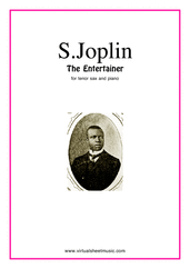 Cover icon of The Entertainer sheet music for tenor saxophone and piano by Scott Joplin, classical score, intermediate skill level