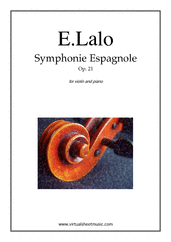 Cover icon of Symphonie Espagnole Op.21 sheet music for violin and piano by Edouard Lalo