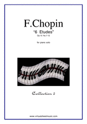Cover icon of Etudes Op.10 No.7-12 sheet music for piano solo by Frederic Chopin, classical score, advanced