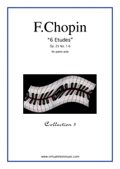 Cover icon of Etudes Op.25 No.1-6 sheet music for piano solo by Frederic Chopin, classical score, advanced piano
