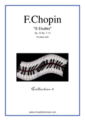 Cover icon of Etudes Op.25 No.7-12 sheet music for piano solo by Frederic Chopin, classical score, advanced piano