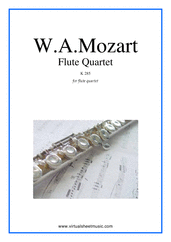 Cover icon of Flute Quartet K285 (parts) sheet music for flute, violin, viola and cello by Wolfgang Amadeus Mozart, classical score, intermediate skill level