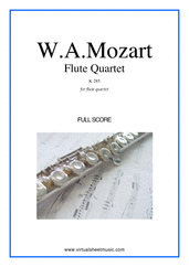 Cover icon of Flute Quartet K285 (f.score) sheet music for flute, violin, viola and cello by Wolfgang Amadeus Mozart