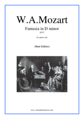 Cover icon of Fantasia in D minor K397 sheet music for piano solo by Wolfgang Amadeus Mozart, classical score, intermediate skill level