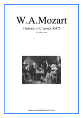 Cover icon of Fantasia in C minor K475 sheet music for piano solo by Wolfgang Amadeus Mozart, classical score, intermediate skill level