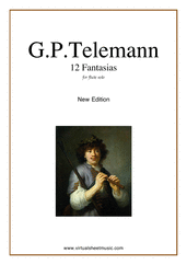 Cover icon of Fantasias, 12 sheet music for flute or alto flute solo by Georg Philipp Telemann, classical score, easy/intermediate skill level