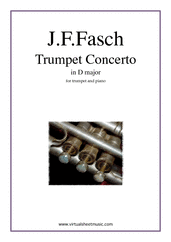 Cover icon of Concerto in D major sheet music for trumpet and piano by Johann Friedrich Fasch, classical score, intermediate skill level