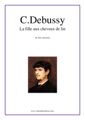 Cover icon of La fille aux cheveux de lin sheet music for flute and piano by Claude Debussy, classical score, intermediate/advanced