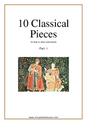 Cover icon of 10 Classical Pieces collection 1 (New Edition) sheet music for flute or other instruments, classical score, easy skill level
