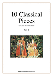Cover icon of Classical Pieces collection 2 sheet music for flute or other instruments, classical score, easy