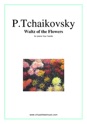 Cover icon of Waltz of the Flowers sheet music for piano four hands by Pyotr Ilyich Tchaikovsky, classical score, intermediate piano four hands