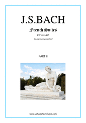 Cover icon of French Suites, part II sheet music for piano solo (or harpsichord) by Johann Sebastian Bach, classical score, intermediate piano (or harpsichord)