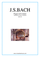 Cover icon of Fugue in G minor BWV 578 sheet music for piano solo or keyboard by Johann Sebastian Bach, classical score, intermediate piano or keyboard