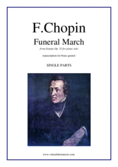 Cover icon of Funeral March (parts) sheet music for brass quintet by Frederic Chopin, classical score, intermediate