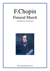 Cover icon of Funeral March sheet music for violin and piano by Frederic Chopin