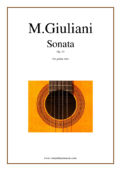Cover icon of Sonata Op.15 sheet music for guitar solo by Mauro Giuliani, classical score, intermediate