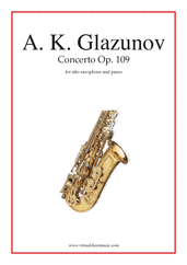 Concerto Op. 109 for alto saxophone and piano - alto saxophone and piano sheet music