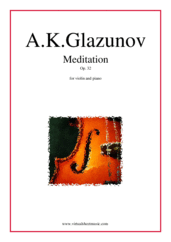 Cover icon of Meditation Op. 32 sheet music for violin and piano by Alexander Konstantinovich Glazunov