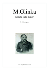 Cover icon of Sonata in D minor sheet music for viola and piano by Mikhail Glinka, classical score, advanced