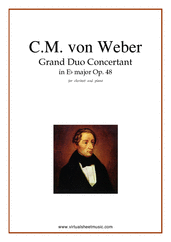 Cover icon of Grand Duo Concertant Op.48 sheet music for clarinet and piano by Carl Maria Von Weber, classical score, intermediate/advanced