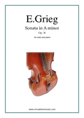 Cover icon of Sonata in A minor Op. 36 sheet music for cello and piano by Edward Grieg, classical score, advanced