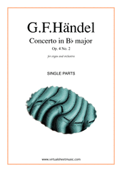 Cover icon of Concerto in Bb major Op.4 No.2 (parts) sheet music for organ and orchestra by George Frideric Handel, classical score, intermediate/advanced skill level