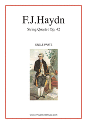 Cover icon of String Quartet in D minor Op.42 No.35 (parts) sheet music for string quartet by Franz Joseph Haydn, classical score, intermediate/advanced skill level
