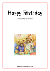 Cover icon of Happy Birthday sheet music for alto saxophone and piano, classical score, easy