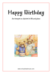 Cover icon of Happy Birthday sheet music for trumpet or clarinet and piano, classical score, easy skill level