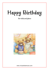 Cover icon of Happy Birthday sheet music for viola and piano, classical score, easy skill level