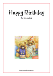 Cover icon of Happy Birthday sheet music for two violins, classical score, easy duet