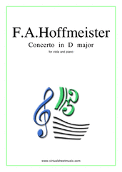 Cover icon of Concerto in D major sheet music for viola and piano by Franz Anton Hoffmeister, classical score, intermediate/advanced