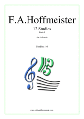 Cover icon of 12 Studies - Book I sheet music for viola solo by Franz Anton Hoffmeister, classical score, intermediate/advanced skill level
