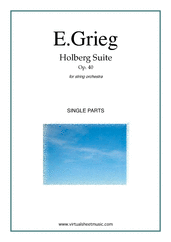 Cover icon of Holberg Suite Op.40 (parts) sheet music for string orchestra by Edward Grieg, classical score, intermediate skill level
