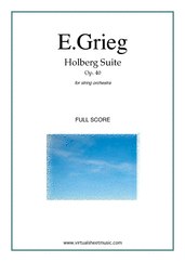 Cover icon of Holberg Suite Op.40 (f.score) sheet music for string orchestra by Edward Grieg, classical score, intermediate skill level