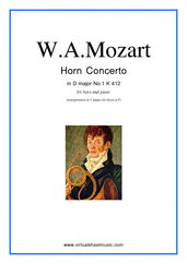 Cover icon of Concerto No.1 K412 (transposed in C major) sheet music for horn and piano by Wolfgang Amadeus Mozart, classical score, intermediate