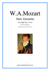 Cover icon of Concerto No.1 K412 (transposed in F major) sheet music for horn and piano by Wolfgang Amadeus Mozart, classical score, intermediate skill level