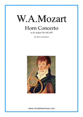 Cover icon of Concerto No.4 K495 in Eb major sheet music for horn and piano by Wolfgang Amadeus Mozart, classical score, intermediate skill level