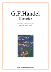 Cover icon of Hornpipe from Water Music sheet music for alto saxophone and piano by George Frideric Handel, classical wedding score, easy/intermediate alto