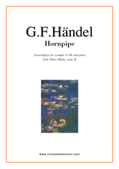 Cover icon of Hornpipe from Water Music (in C, trumpet in Bb) sheet music for trumpet and piano by George Frideric Handel, classical wedding score, easy/intermediate