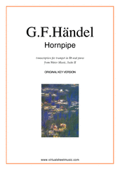 Cover icon of Hornpipe from Water Music (in D, trumpet in Bb) sheet music for trumpet and piano by George Frideric Handel, classical wedding score, intermediate