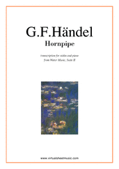 Cover icon of Hornpipe from Water Music sheet music for violin and piano by George Frideric Handel, classical wedding score, easy/intermediate violin