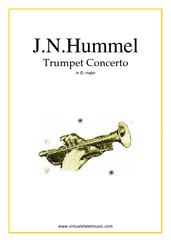 Cover icon of Concerto in Eb major sheet music for trumpet and piano by Johann Nepomuk Hummel, classical score, intermediate/advanced skill level