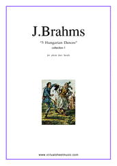 Cover icon of Hungarian Dances (collection 1) sheet music for piano four hands by Johannes Brahms, classical score, intermediate