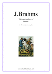 Cover icon of Hungarian Dances (collection 1) sheet music for alto saxophone and piano by Johannes Brahms, classical score, intermediate alto