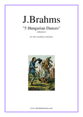 Cover icon of Hungarian Dances (collection 2) sheet music for alto saxophone and piano by Johannes Brahms, classical score, intermediate skill level