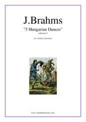 Cover icon of Hungarian Dances (collection 1) sheet music for clarinet and piano by Johannes Brahms, classical score, intermediate